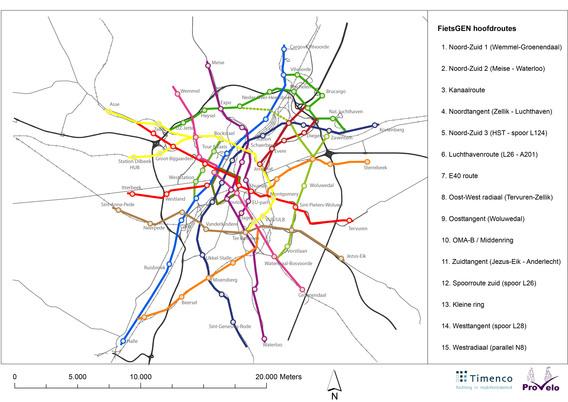 Editiepajot fiets gen plan voor 400 km fietswegen voor een vlottere mobiliteit tussen - Kaart evenwicht tussen werk en ...